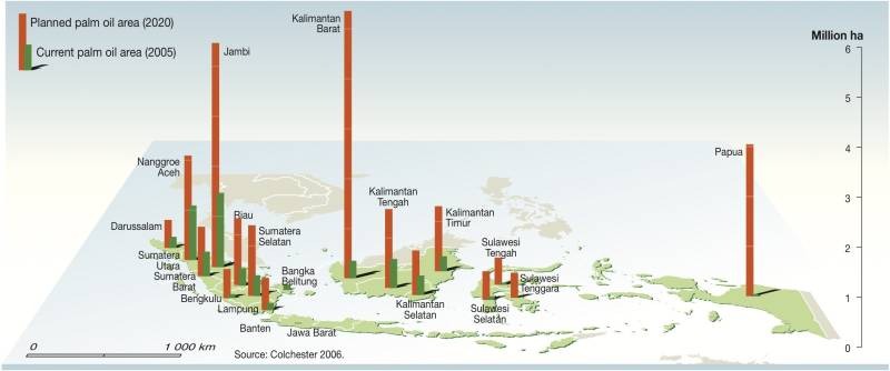 Oil palms in Indonesia till 2020